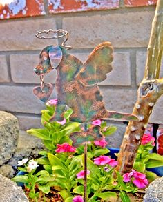 Labrador Retriever / Pet Memorial / Plant Stake / Metal / Garden Art / Copper / Dog Angel / Labrador Retriever Sculpture / Grave Marker by GardenCopperArt on Etsy