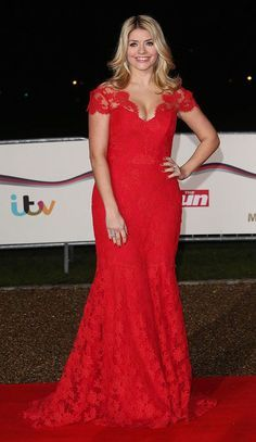 Suzanne Neville red lace gown at Military Awards , evening dress, plus size