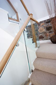 Cut String Glass and Oak Staircase - Neville Johnson Staircase Landing, Staircase Design, Bespoke Staircases, Glass Balustrade, Newel Posts, Banisters, Carpet Stairs, Interior Design, Modern