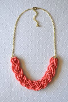 braided coral statement necklace