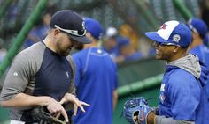 Jays starter Marcus Stroman, right, jokes with former Jays reliever Drew Storen, now pitching out of the Mariners bullpen, before Monday night's series opener in Seattle. Marcus Stroman, Toronto Blue Jays, Riding Helmets, Baseball Hats, It Is Finished, Seattle, Sports, Jokes, Hs Sports