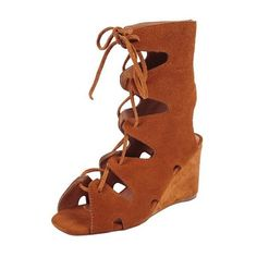 Jeffrey Campbell Romilly ($120) ❤ liked on Polyvore featuring shoes, sandals, tan suede, suede wedge sandals, jeffrey campbell sandals, suede lace up sandals, greek sandals and roman sandals