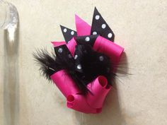 Pink and Black and White Polka Dot Little Girls Hair Bow