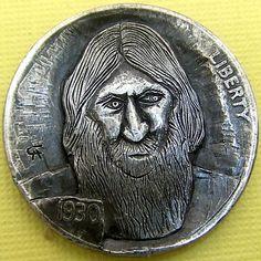 ALAN CHERNOMASHENTSEV HOBO NICKEL - RASPUTIN - 1930 BUFFALO NICKEL Hobo Nickel, Coin Art, Rasputin, Effigy, Coin Collecting, Metal Wall Art, Geo, Buffalo, Cactus