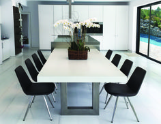 White kitchen Zen Concrete Dining Table by Trueform Concrete