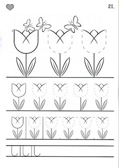 tulip tracing // trazo de tulipanes #trace #prewriting