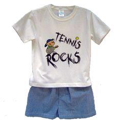 Tennis Rocks Tee & Seersucker shorts $30.00