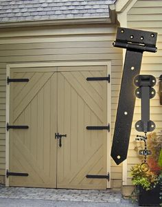 Barn style door, outswing with hardware