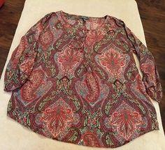 LRL Lauren Jeans Co. Women's Long Sleeve Multi Colored Paisley Blouse Size Large