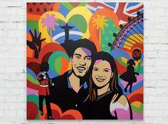 The soccer player of the Brazilian team  won a work of art.  World Cup, Brazil Art, Soccer, Artist, Painting, Pop Art