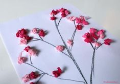 Cherry blossom painting, for the Chinese New Year // A super activity . - Cherry blossom painting, for the Chinese New Year // A super easy and fast activity to celebrate th - Chinese Cherry Blossom, Cherry Blossom Painting, Painting For Kids, Chinese New Year, Preschool Activities, Diy For Kids, Origami, Diy And Crafts, Hair Accessories