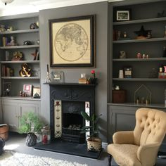 Grey traditional living room with fireplace and alcove shelving Alcove Ideas Living Room, Diy Living Room Decor, Living Room Shelves, Living Room Storage, Living Room With Fireplace, Living Room Grey, Home Living Room, Living Spaces, Living Area