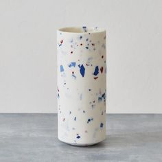 Small Terrazzo style vase with red and blue chips - a beautiful wedding or Christmas gift