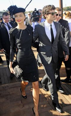 Miranda Kerr and Orlando Bloom at Derby Day (dress code for Derby Day races is 'Black and White')