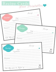 Recipe Cards {Free Printable} | Two Delighted