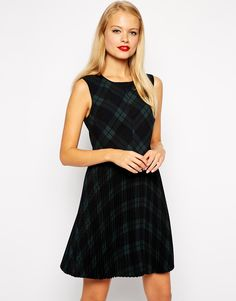 ASOS+Skater+Dress+with+Pleats+in+Tartan