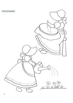 sunbonnet girls....Sewing and gardening, two of my favs