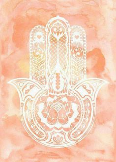 Hamsa - pink and white