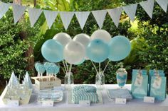 How about just theming your children's party with colour.  Love this baby blue and white colour comination.