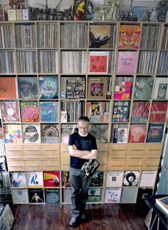 amazing record collection and shelving.