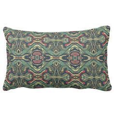 Abstract colorful hand drawn curly pattern design lumbar pillow