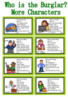 WHO IS THE BURGLAR? - 30 Conversation Cards - Roleplay - Class and Group Speaking - English ESL Worksheets for distance learning and physical classrooms English Games, English Activities, Fun Activities, Listening Activities, Spelling Activities, Listening Skills, Reading Skills, Esl Lessons, English Lessons