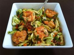 Paleo shrimp n bacon slaw. Very good, but made a bunch of extra shrimp marinade to use as dressing.
