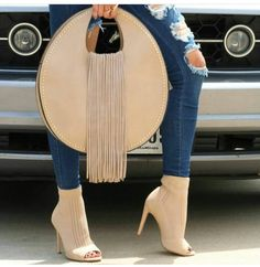 Cut Out Open Toe Ankle Heels Save an exclusive on these super hot and trendy stretchy knit cut out open toe heels with discount coupon gift code Suede Handbags, Purses And Handbags, Ankle Heels, Hot High Heels, Clutch, Hot Shoes, My Bags, Fashion Bags, Saddle Bags