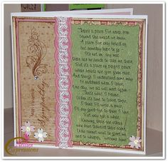 Sympathy Card - this is one of my favorite poems to use on sympathy cards.