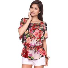 Floral Short Sleeve Blouse Bustling floral for a feminine touch. Scoop neckline with smocked trim. Flutter sleeves. Smocked drop waist. Lightweight. 100% Polyester. ⚡️no trades & no paypal⚡️ Forever 21 Tops Blouses