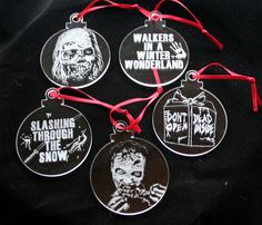 The Walking Dead Hand Engraved Christmas Decorations Set of 5 Ornaments by PimpedMyStride on Etsy
