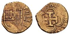 Auktionshaus Felzmann Los 645 Felipe II. 1556-1598 Escudo 3.39 g. Schiffsgeld, Av.: bekröntes Wappen, Rv.: Krückenkreuz im Vierpass Fried. 176 ff., 3.39 g. Erhaltung:   ss Zuschlag 330 €