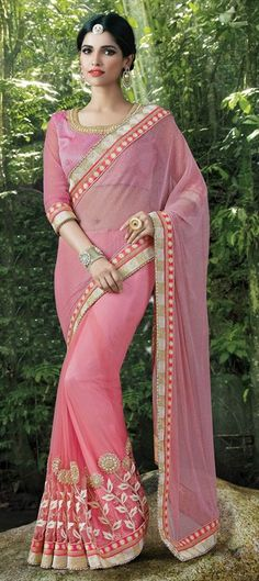 710957 Pink and Majenta  color family Embroidered Sarees, Party Wear Sarees in Lycra, Net fabric with Lace, Machine Embroidery, Moti, Thread work   with matching unstitched blouse.