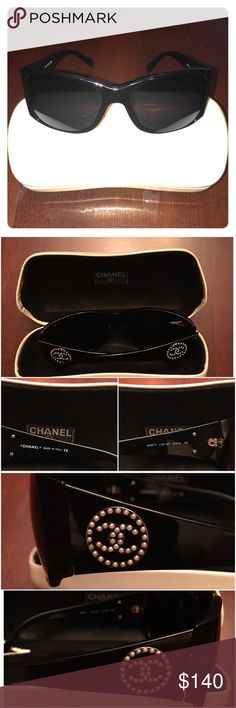 Chanel Pearl Sunglasses  Completely Authentic Chanel Sunglasses with Pearl CC detail. Great shades!! Slight scratch on left lens. CHANEL Accessories Sunglasses