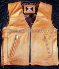 mens light brown leather vest MLV1370 available in all sizes, 9 colors and 5 leather types @ Leather-Shop.Biz
