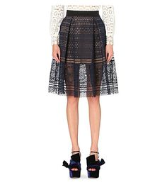SELF-PORTRAIT Sofia Embroidered-Lace Skirt. #self-portrait #cloth #skirts
