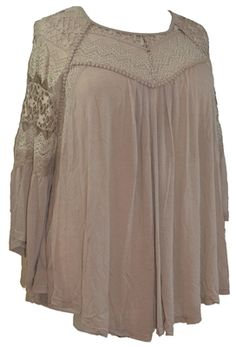 RYU Plus Shabby Chic Vintage Lace Flutter sleeve Top  Gorgeous shabby chic Bohemian lace sleeve top is perfect for any occasion. The front yoke and sleeves are created from vintage style lace that is edged with a ruffle of fabric for a fluttery look. The back yoke is a deep V-shape of coordinating lace. The chic details on this top are flattering for any size and it pairs perfectly with jeans, leggings or a skirt. Generously sized 1X, 2X