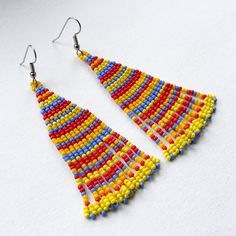 Серьги-полосатики :) | -Украшения от Anabel- Seed Bead Earrings, Fringe Earrings, Beaded Earrings, Seed Beads, Drop Earrings, Brick Stitch, Jewellery Making, Loom, Jewerly