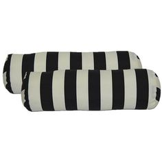 Black & White Stripes Bolster Pillows - A Pair ($59) ❤ liked on Polyvore featuring home, outdoors, outdoor decor, pillows, round bolster pillow, round neck pillow, black bolster pillow and black neck roll pillow