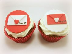 Valentine's Day Cupcake Fondant Love Letters Toppers