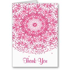 Pretty Pink White Lacy Thank You Cards