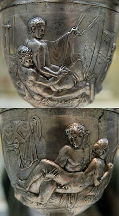The Warren Cup is a unique silver Roman skyphos (or drinking cup) featuring two representations of homoerotic sexual acts. It was most probably commissioned from Greek craftsmen in 1-20 AD (or the first century AD in general) by a Roman client, perhaps during the Hellenising reign of Nero