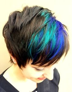Blue and purple highlights and a cute pixie cut :: RedBloom Salon | creative color | Pinterest | Cute Pixie Cuts, Purple Highlights and Pixie Hair