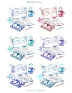 FREE large printable NaNoWriMo writing stickers to decorate your novel notes, journal, laptop, wordcount list... Just print on sticker paper of your choice and decorate away. :) Hand drawn watercolor laptop illustration, coffee cup, writing notebook and pen. Six colors, digital download sticker art on www.evydraws.com