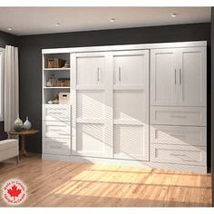 Shop Bestar Pur by 3 Door & 3 Drawer/Open Storage Wall Bed Kit at Lowe's Canada. Find our selection of beds at the lowest price guaranteed with price match. Murphy Bed Kits, Murphy Bed Plans, Full Bed With Storage, Modern Murphy Beds, Bed Wall, Hacks, Decorate Your Room, Diy Bed, Diy Room Decor
