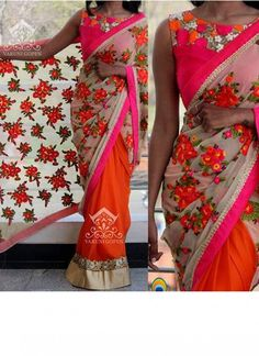 Buy New Orange Cream Georgette Floral Designer Saree by undefined, on Paytm, Price: Indian Beauty Saree, Indian Sarees, India Fashion, Women's Fashion, Indian Wedding Sari, Designer Wear, Designer Sarees, Simple Sarees, Fancy Sarees