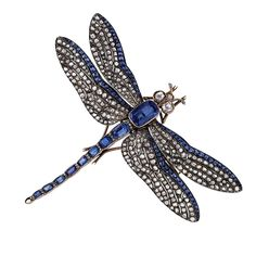 Antique Sapphire Diamond Silver Gold Dragonfly Brooch | From a unique collection of vintage brooches at https://www.1stdibs.com/jewelry/brooches/brooches/