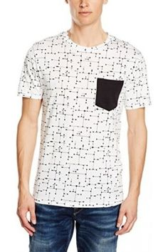 Hombre Camisetas - OnsKASEY AOP FITTED TEE - Camiseta Hombre, Blanco (White), Large (Talla del fabricante: L)