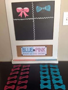 Blue or pink, what do you think game at a gender reveal baby shower party! See more party planning ideas at CatchMyParty.com!