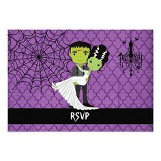 Halloween Wedding RSVP Bride of Frankenstein Card